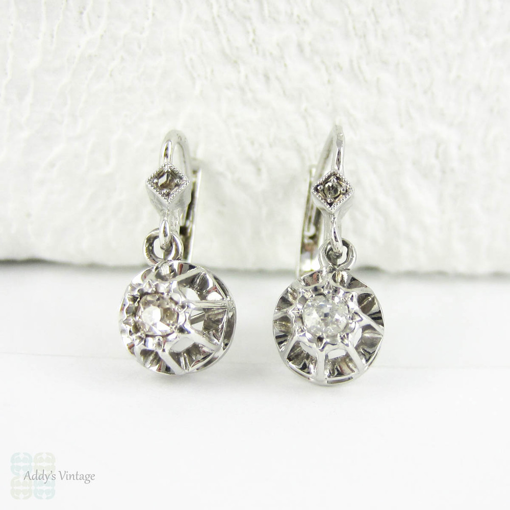 9541f35457d93e Antique Diamond Earrings, Old Mine Cut Diamond Drop Earrings, 0.28 ctw.  French Dormeuse Earrings in 18 Carat Gold. - Addy's Vintage