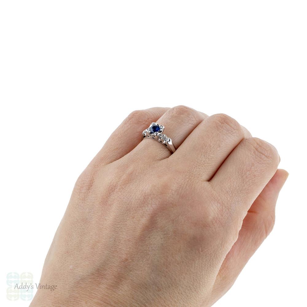 Vintage Sapphire & Diamond Engagement Ring, Circa 1940s. 14ct 14k White Gold.