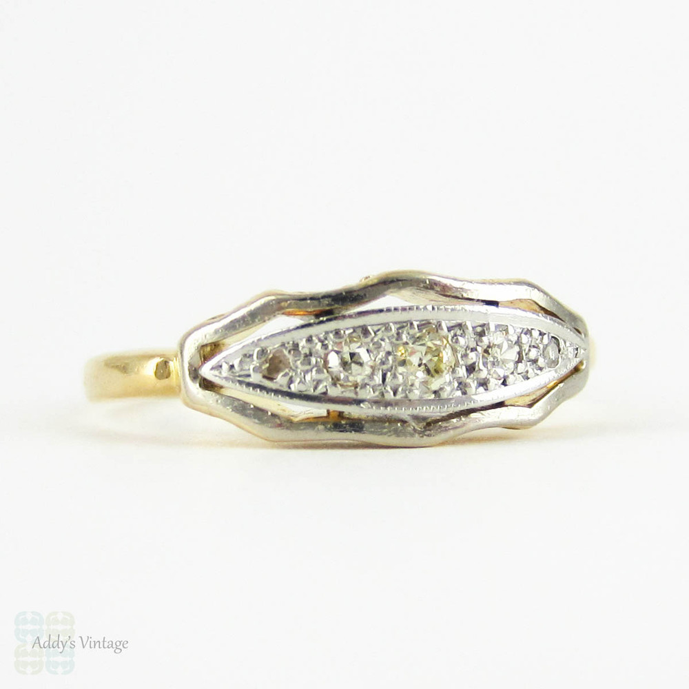 Antique Five Stone Diamond Ring, Graduated Old Cut Diamond Ring with Scalloped Edge & Engraved Sides. 18 ct & Platinum.