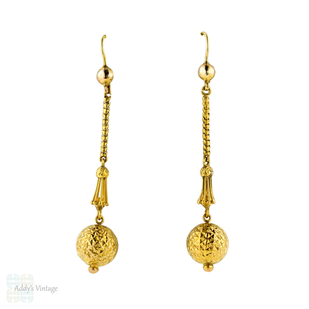 Victorian 15k Sphere Drop Earrings, 15ct Gold Antique Textured Dangles, Circa 1860s.