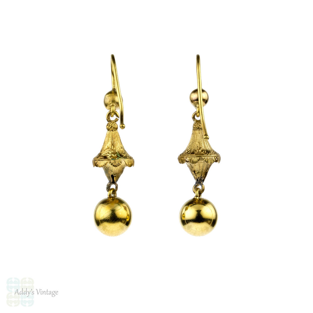 Antique Victorian Drop Earrings, 15 Carat Dangles with Shiny Spheres & Textured Engraving. Circa 1870s.