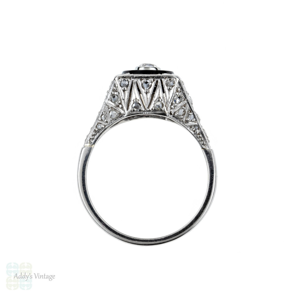 Vintage Onyx & Diamond Ring, Pierced Platinum Filigree Ring with Diamonds in Onyx Frame. Art Deco Style, Mid 20th Century.