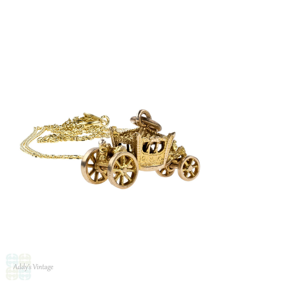 Vintage 9k Carriage Charm, 9ct Pendant with Moving Wheels. 1950s, on Gold Chain.