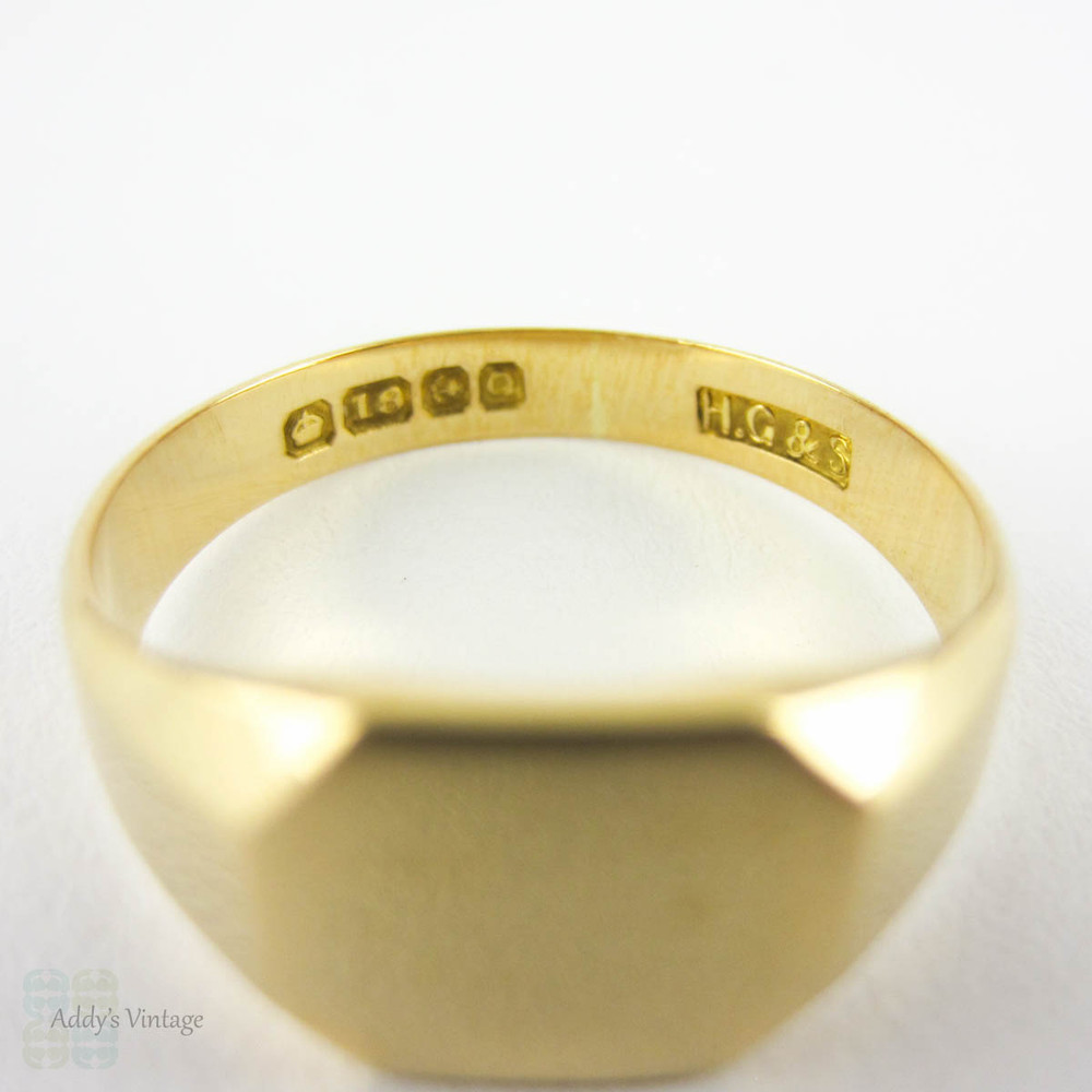 Vintage 18 Carat Gold Signet Ring Blank Cartouche For