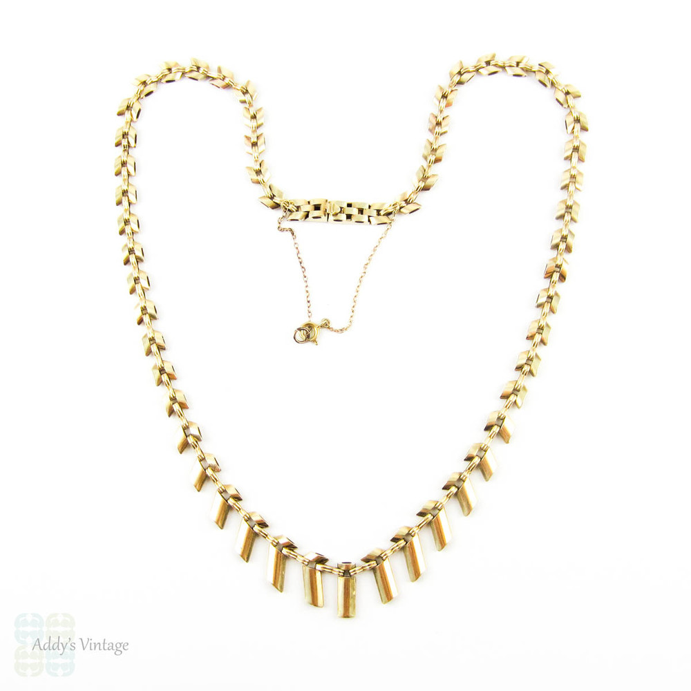 Vintage 9ct Gold Cleopatra Style Fringe Necklace, Graduated Bar Links. Circa 1960s.