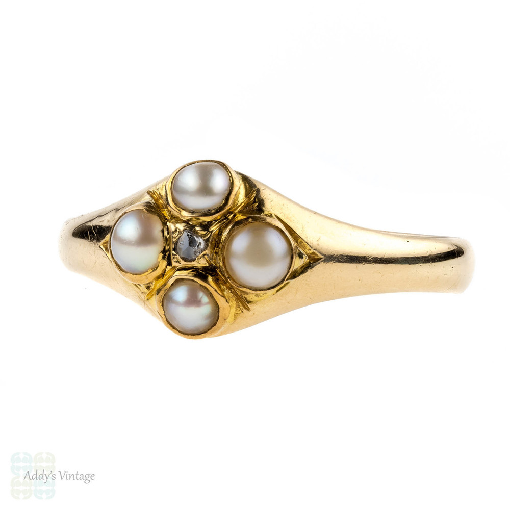 Antique Pearl & Diamond Ring, 18k Circa 1860s Victorian 18ct Yellow Gold Ring.