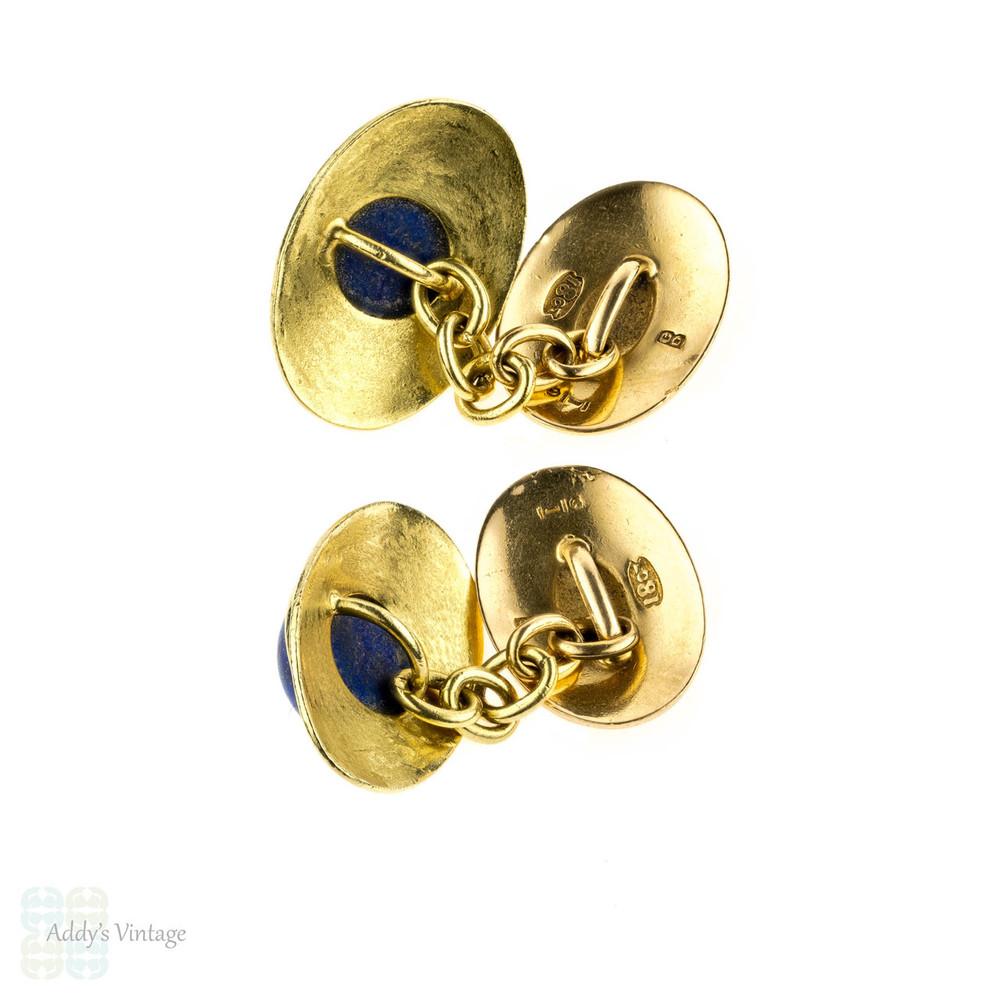 Mid Century Lapis Lazuli 18ct Cuff Links. Vintage 18k Yellow Gold Oval Cufflinks.