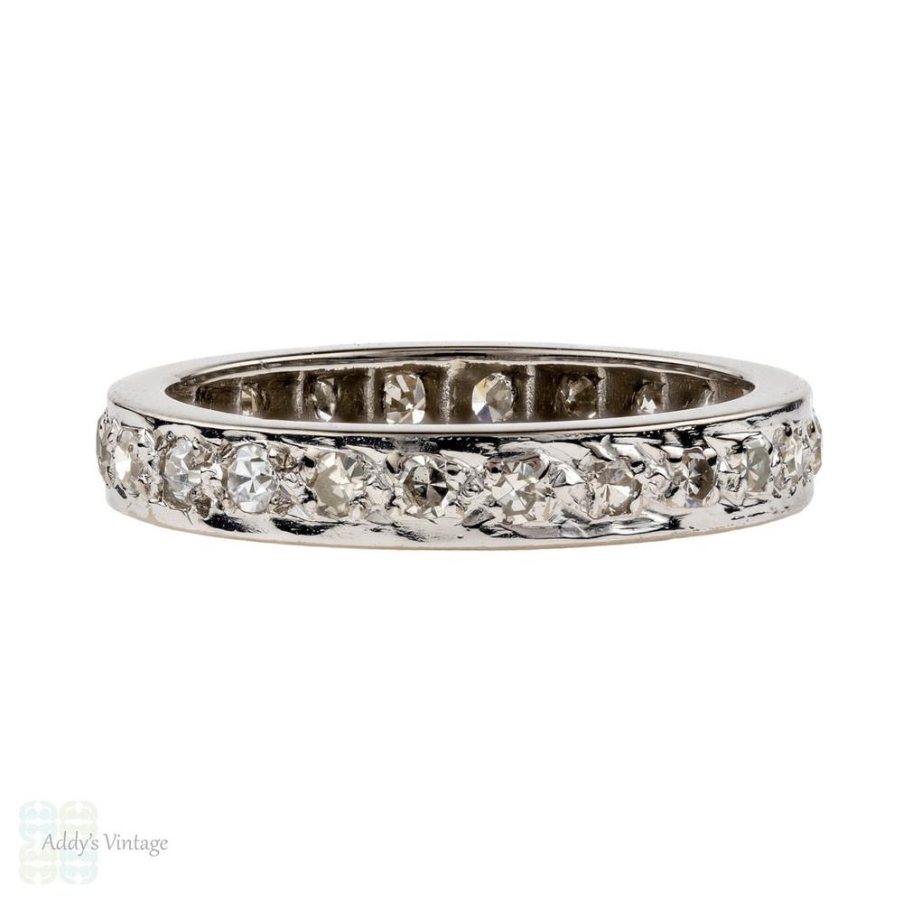 RESERVED Vintage Diamond Eternity Ring, 18ct 18k Full Hoop Wedding Band. Size L.5 / 6.