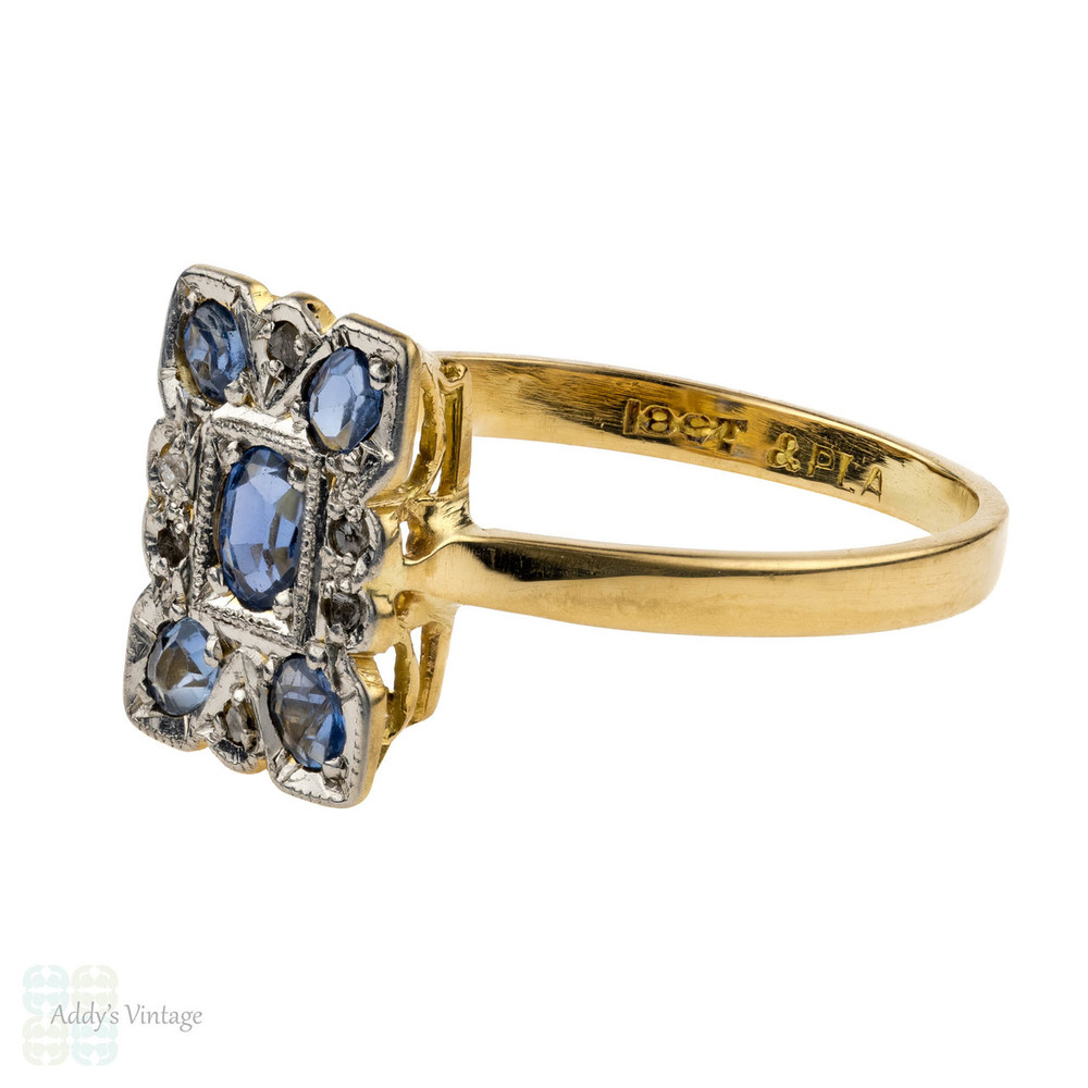 Sapphire & Diamond Art Deco Panel Ring, 1930s Rectangular Dress Ring. 18ct and Platinum.