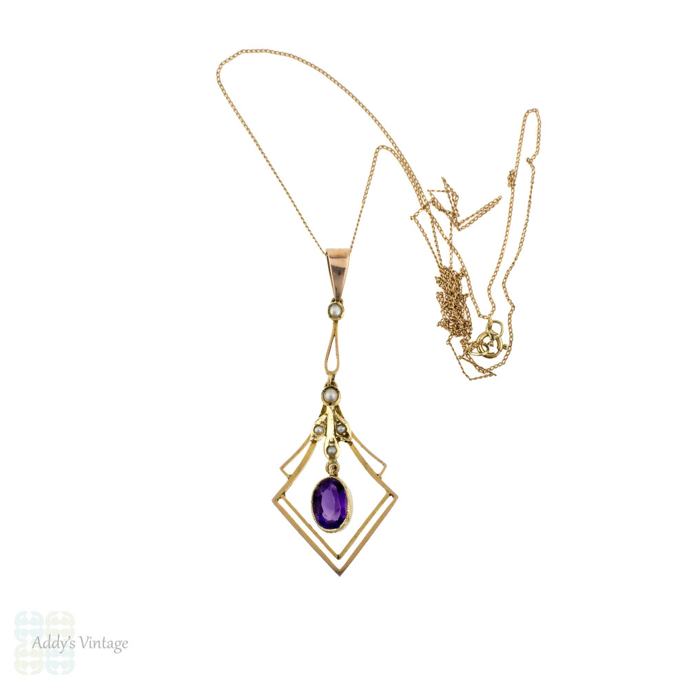 Antique Amethyst & Cultured Pearl Pendant, 9 Carat Gold Diamond Shape Drop Necklace with Oval Amethyst. Circa 1900s - 1910s.