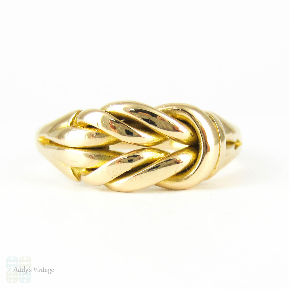 Antique Knot Keeper Ring, 18 Carat Yellow Gold Edwardian