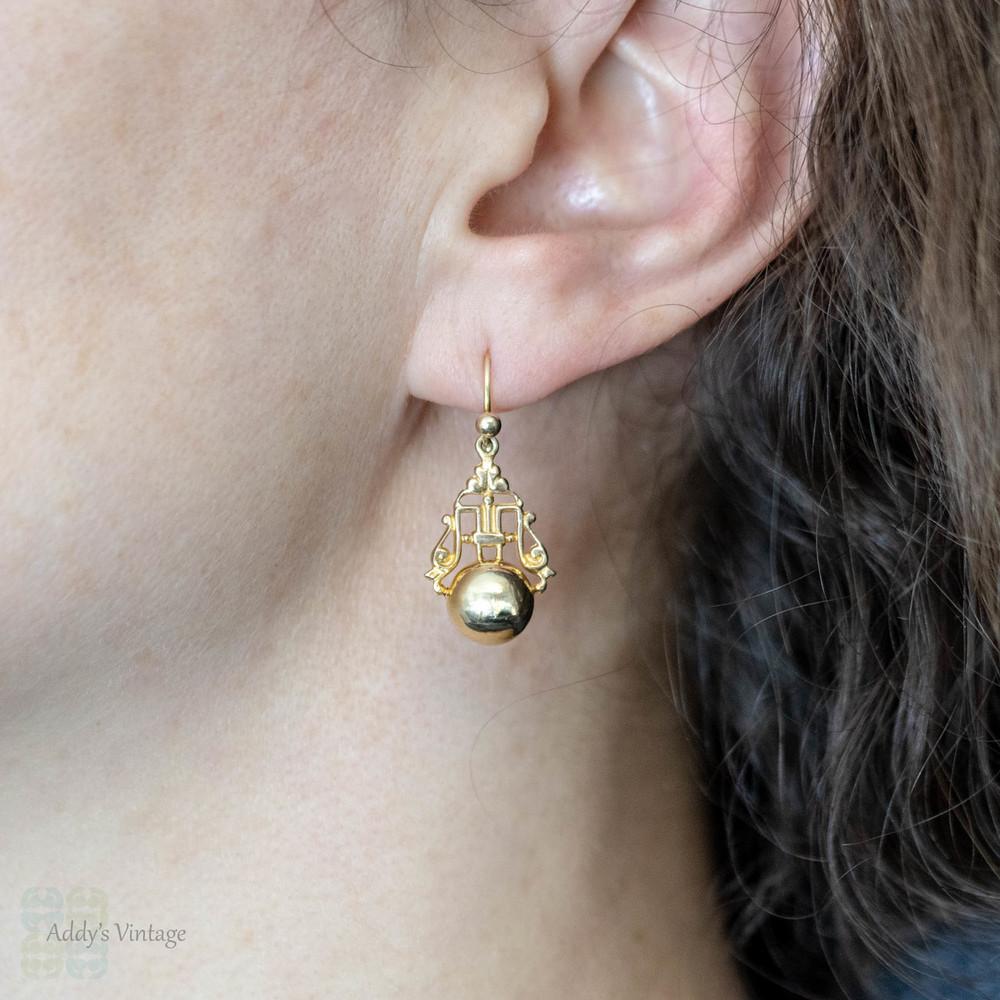 9ct Gold Drop Earrings, Vintage Ornate Carved Design with Golden Spheres. Pierced Earrings.