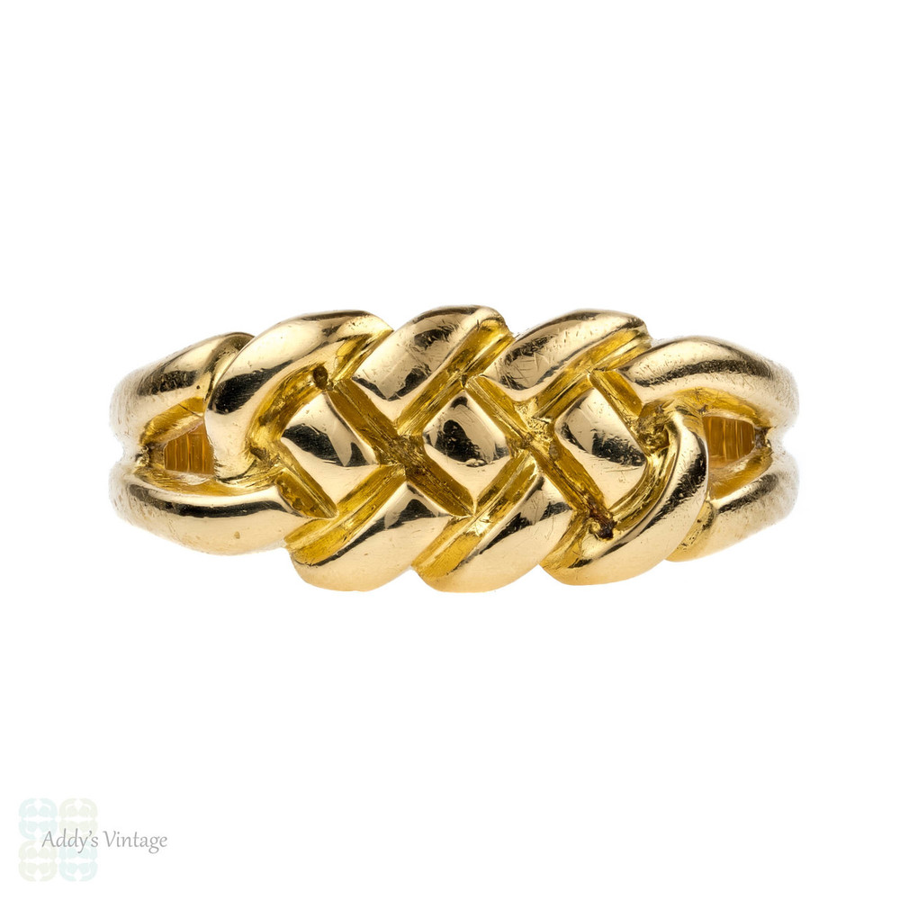 Victorian 1880s Knot Ring, Plaited Antique 18k Keeper Band, 18ct Yellow Gold.