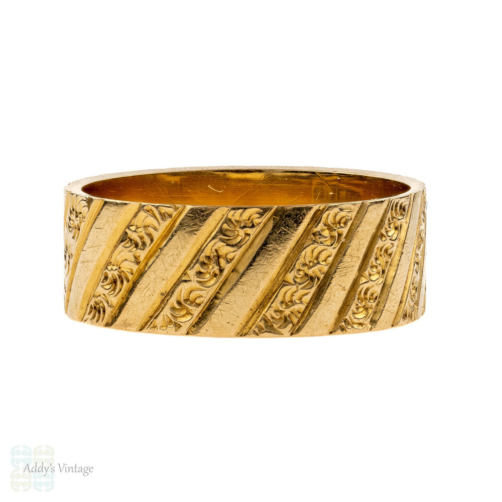 Antique Engraved 18ct Gold Ring, Wide 18k Victorian Band. Size H.5 / 4.25.