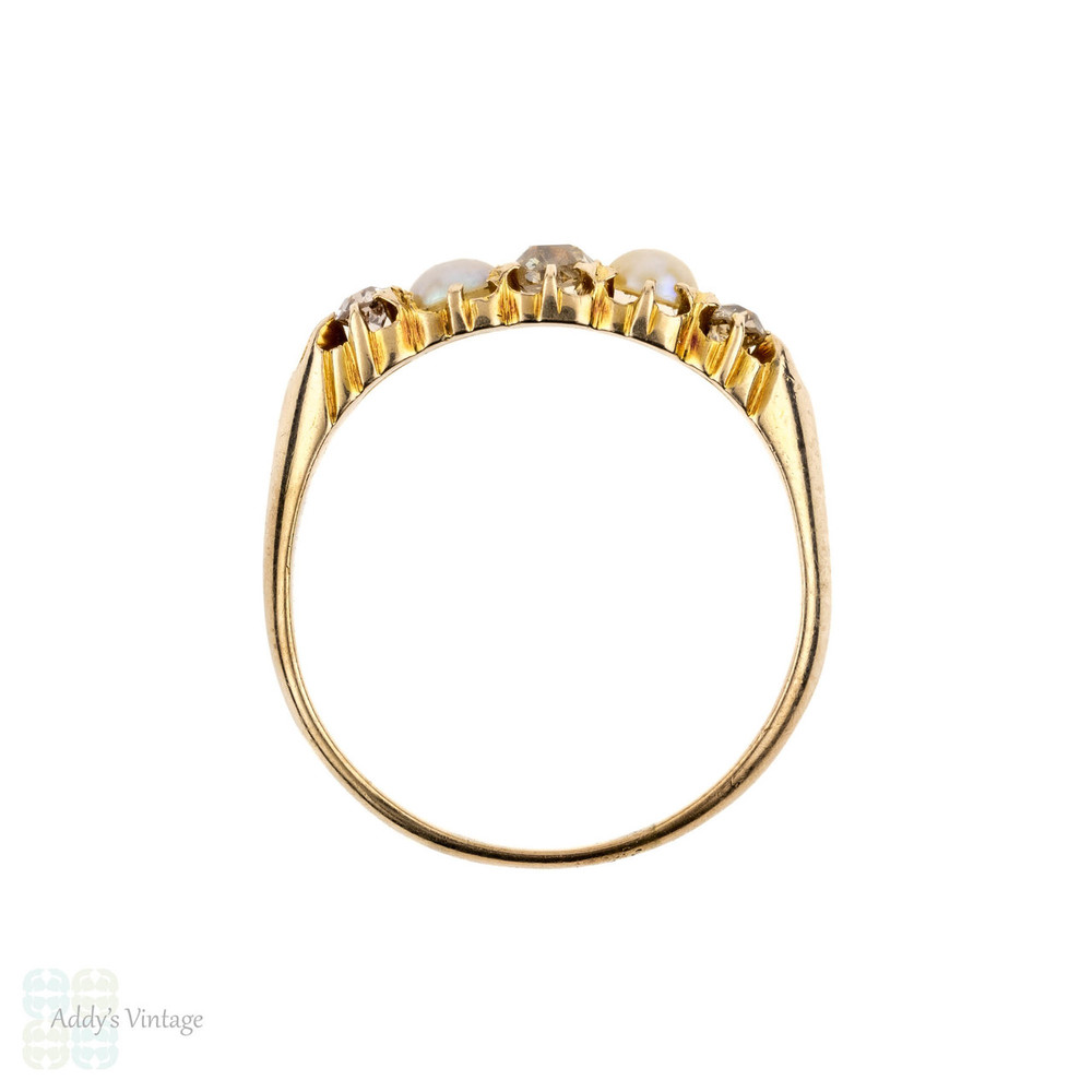 Antique Old Mine Cut Diamond & Cultured Pearl Half Hoop Ring, Victorian 5 Stone Ring. Circa 1870s, 15ct Gold.