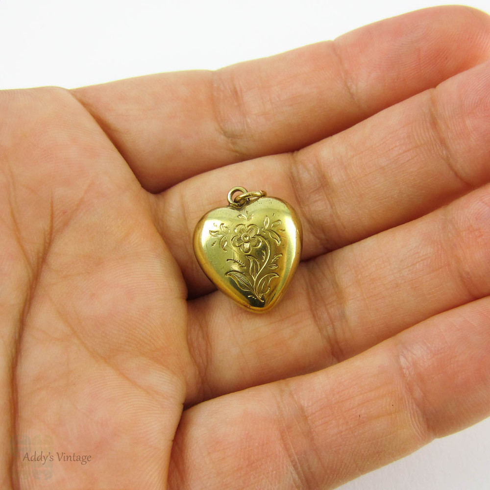 Victorian 15ct Puffed Heart Locket Pendant. Engraved Forget Me Not Flower Blossoms & Child's Photograph, Circa 1850s Personal Inscription.