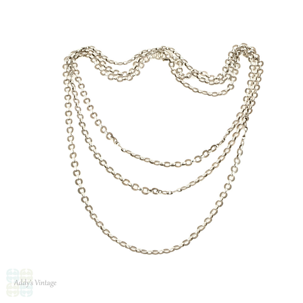 Antique Long Guard Chain, German Silver Fancy Link Engraved Necklace. 150.5 cm / 59.25 inches.