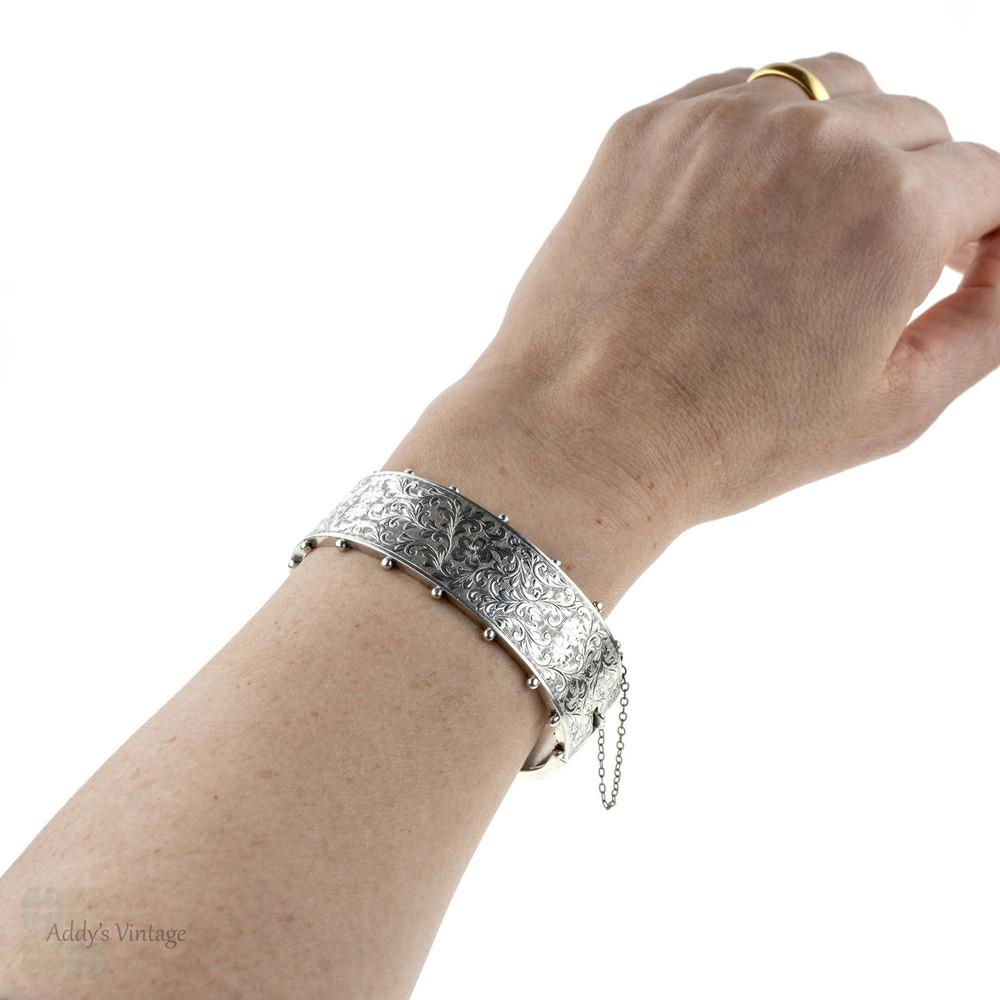 Vintage Sterling Silver Bracelet, Wide Hand Tooled Floral Design Victorian Style Engraved Bangle.