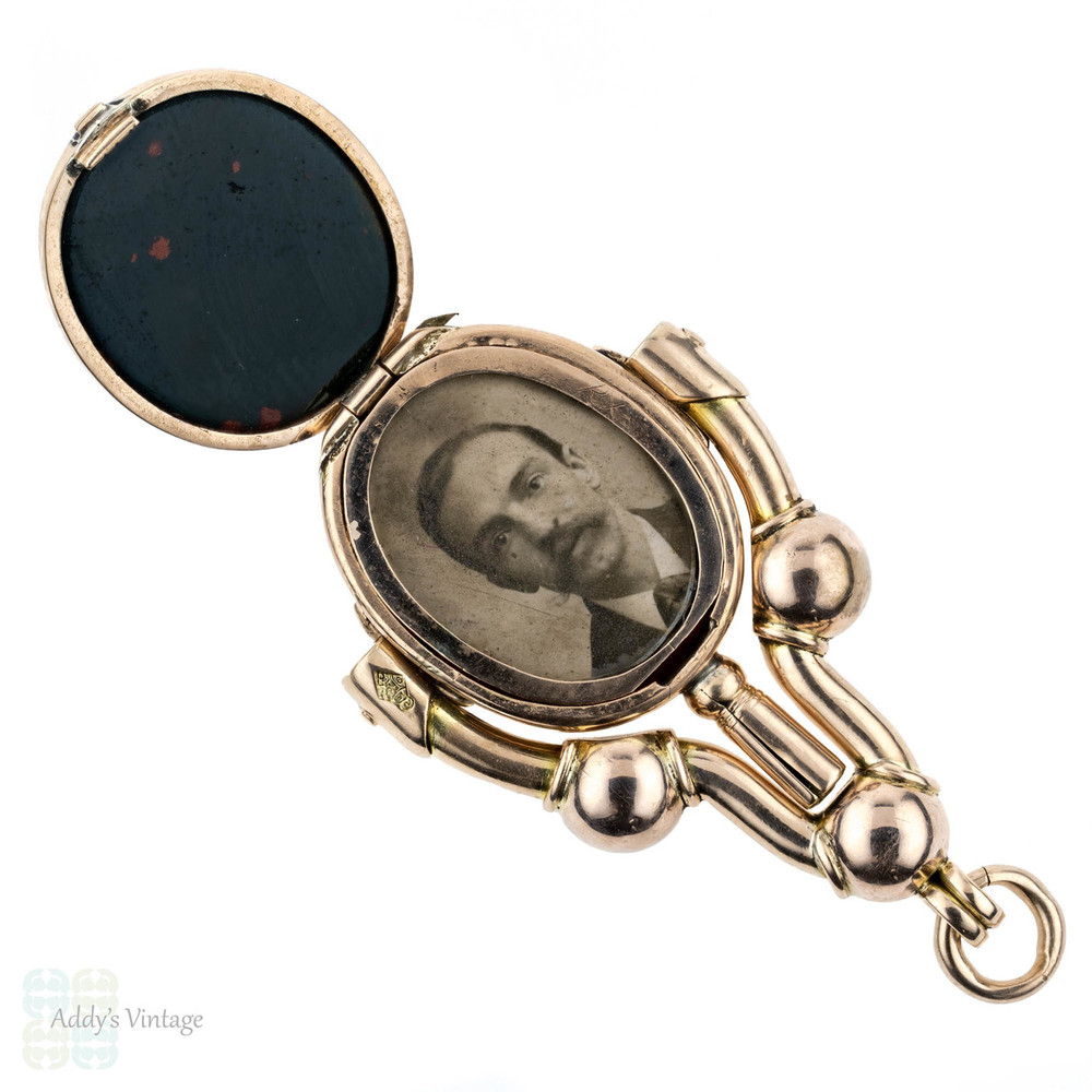Victorian 9ct Gold Watch Key with Locket Compartment, Large Antique Hard Stone Fob Swivelling Fob Pendant, Circa 1870s Registration Mark.