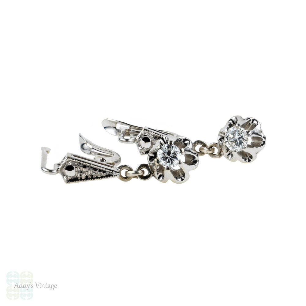 Diamond Dangle Earrings, 0.33 ctw Round Brilliant Cut Diamonds in Engraved Beaded Drop Settings.