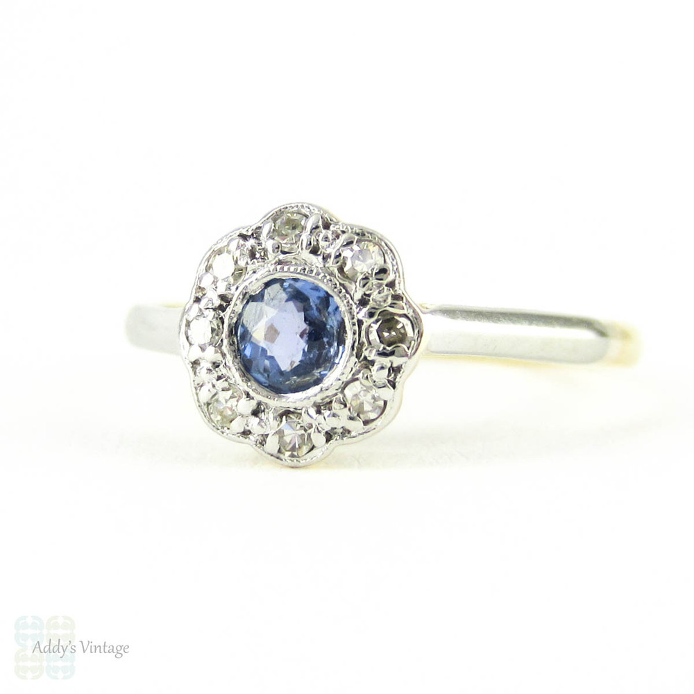 1a92c3ee5ec50 Antique Sapphire & Diamond Flower Ring, Vintage Daisy Shaped Cluster ...