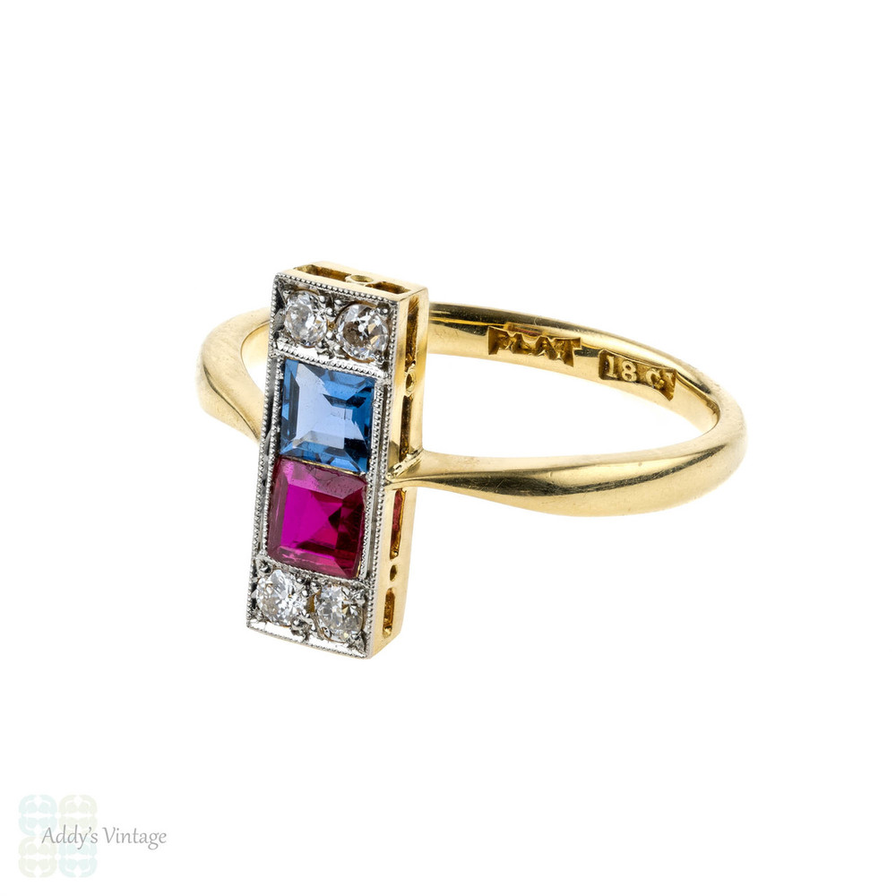 Art Deco Diamond Line Ring with Synthetic Sapphire & Ruby. Circa 1930s, 18ct & Platinum.