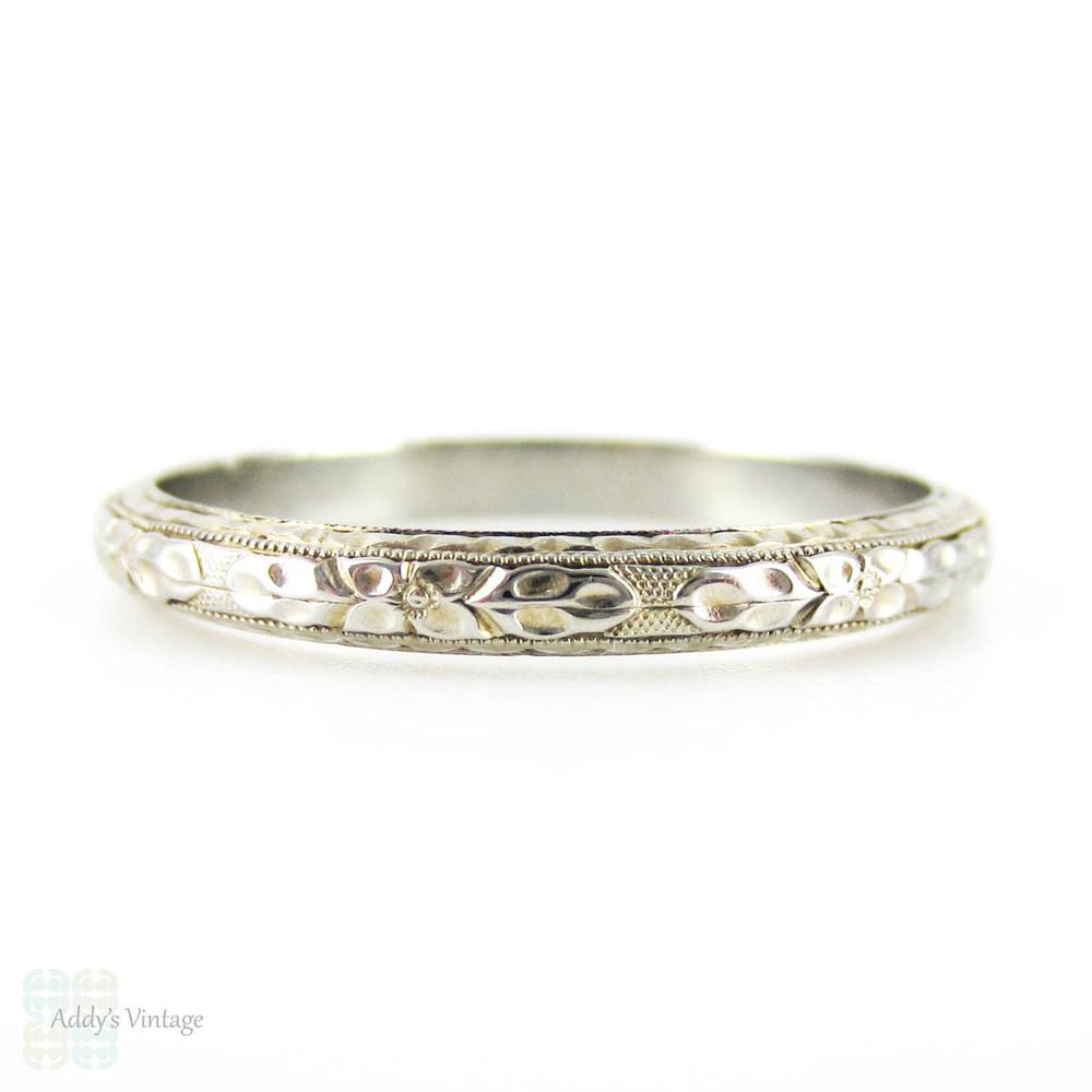 Vintage Engraved Men's Wedding Ring By Belais Floral Engraving With Milgrain Beading In 18k White: Vintage Belais 18k Wedding Band At Websimilar.org