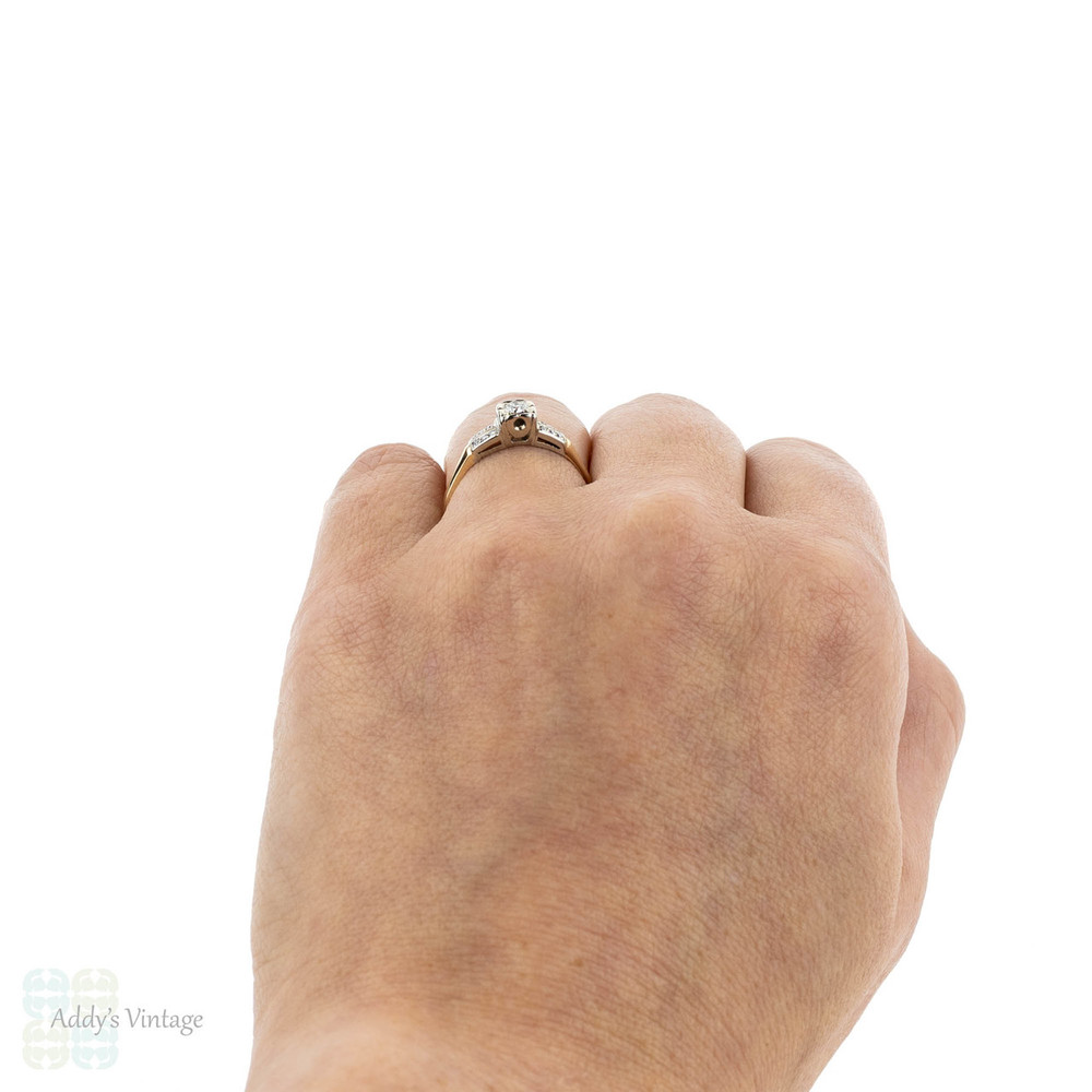 RESERVED. Vintage 1940s Diamond Engagement Ring, Square Set Double Row Ring. 18k & 14k Gold Ring.