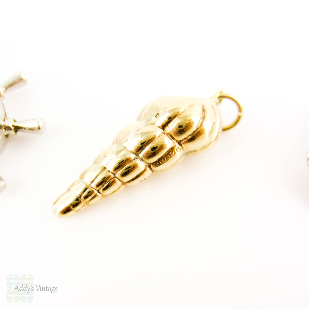 Vintage Nautical Themed Charms, Set of 3. 9ct Gold Cone Shell, Silver Clam Shell & Compass with Engraved Ships.