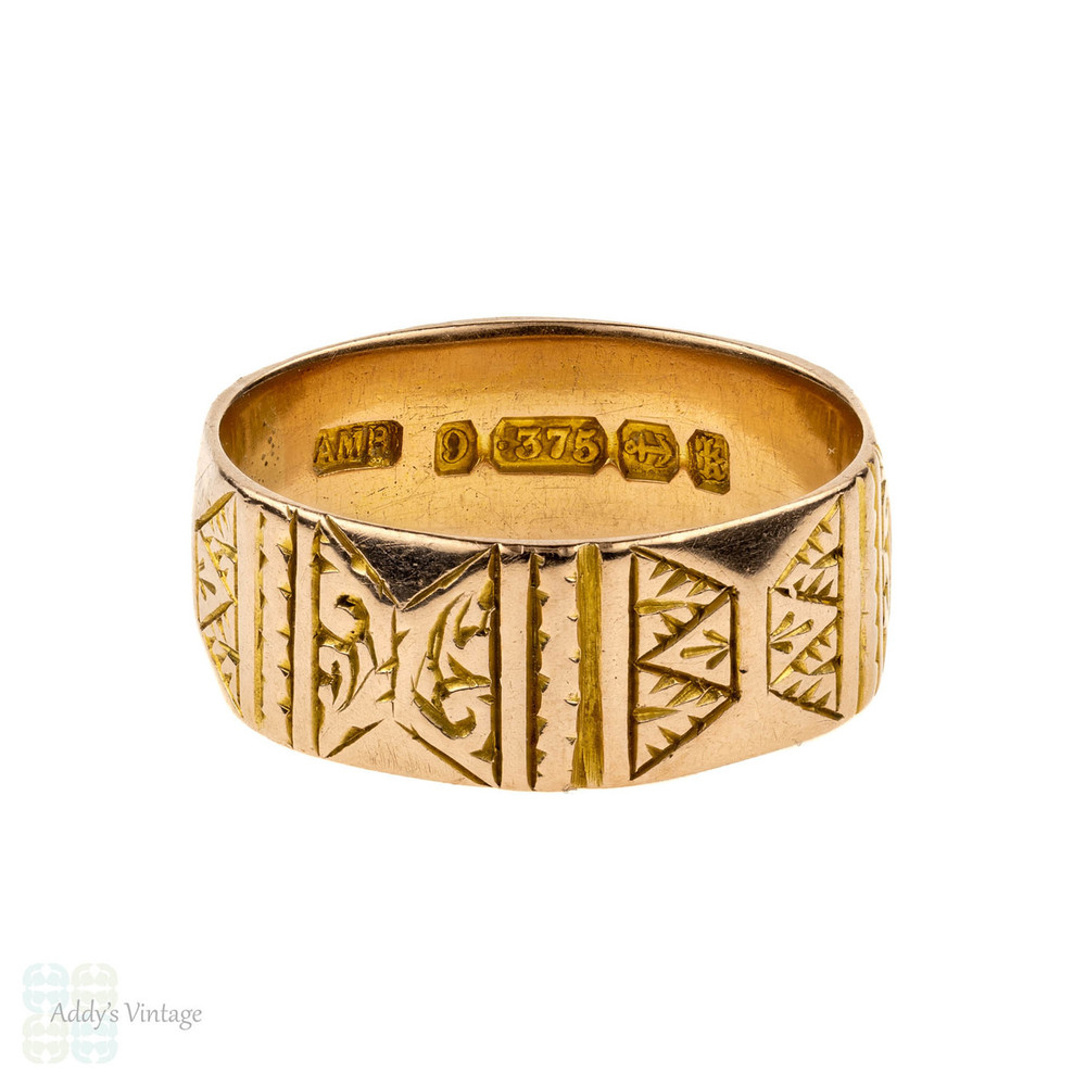 Victorian 9ct Cigar Wedding Ring, Antique Wide Leaf Engraved Faceted Band. Circa 1880s, Size N / 6.75.