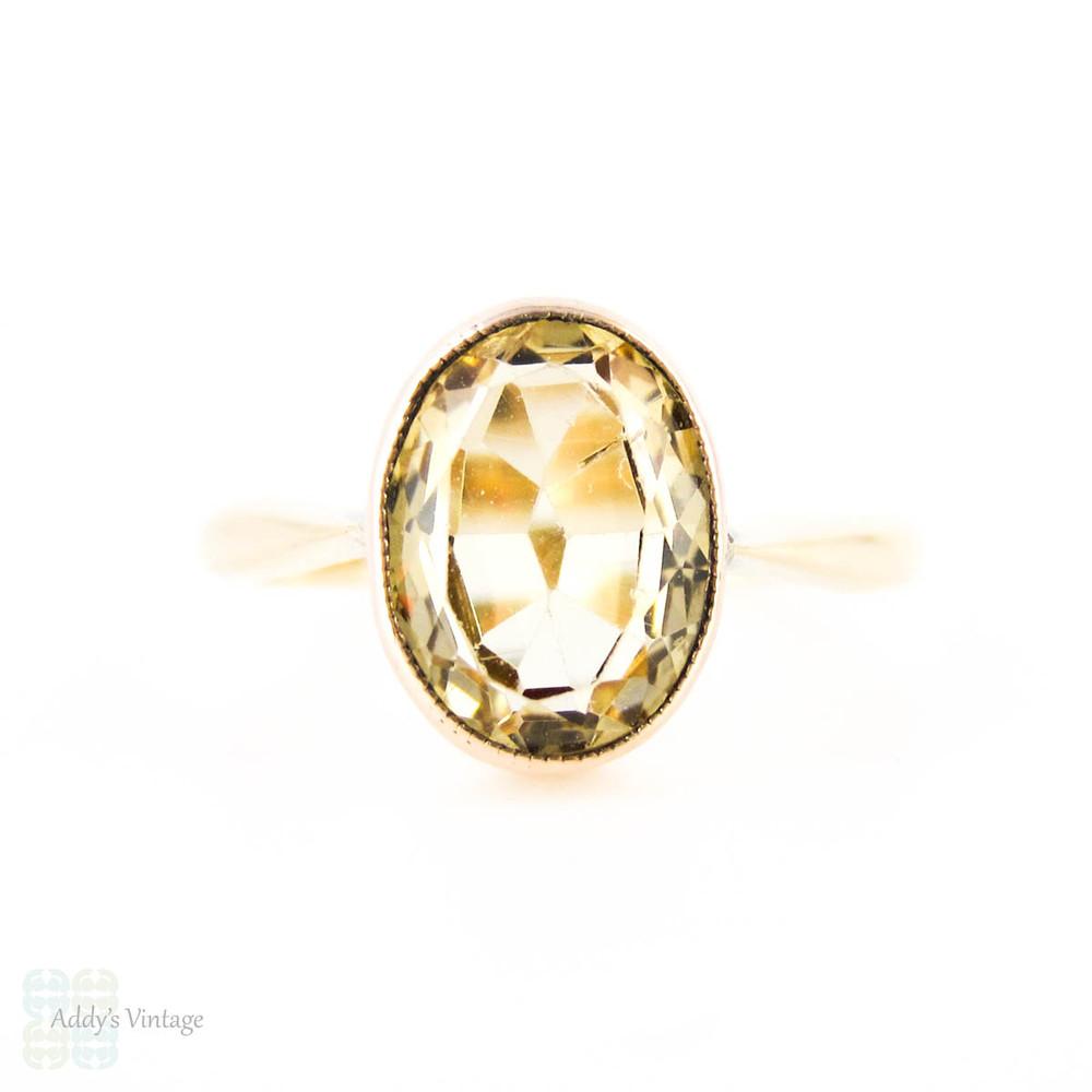 c05a7dea66305 Antique Citrine 9ct Ring, Light Yellow Bezel Set Single Stone ...