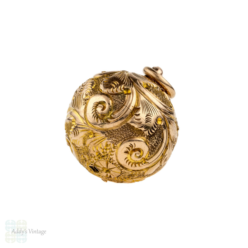 Antique Victorian 9ct Ball Charm. Sphere Bauble Pendant with Leaf & Flower Engraving, Circa 1880s.