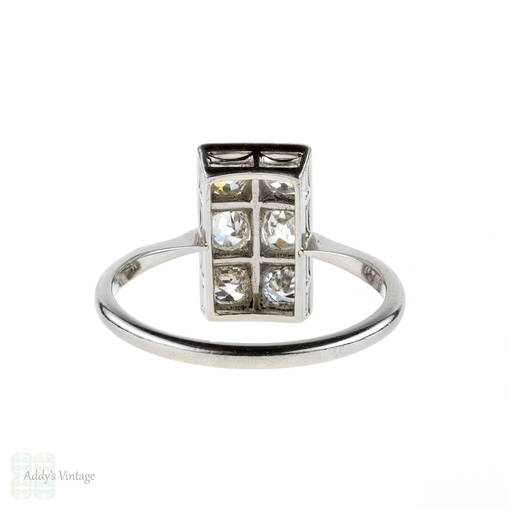 Antique Diamond Cocktail Ring, Old Mine Cut Diamonds in Rectangle Plaque Dress Ring. Platinum, Circa 1920s.