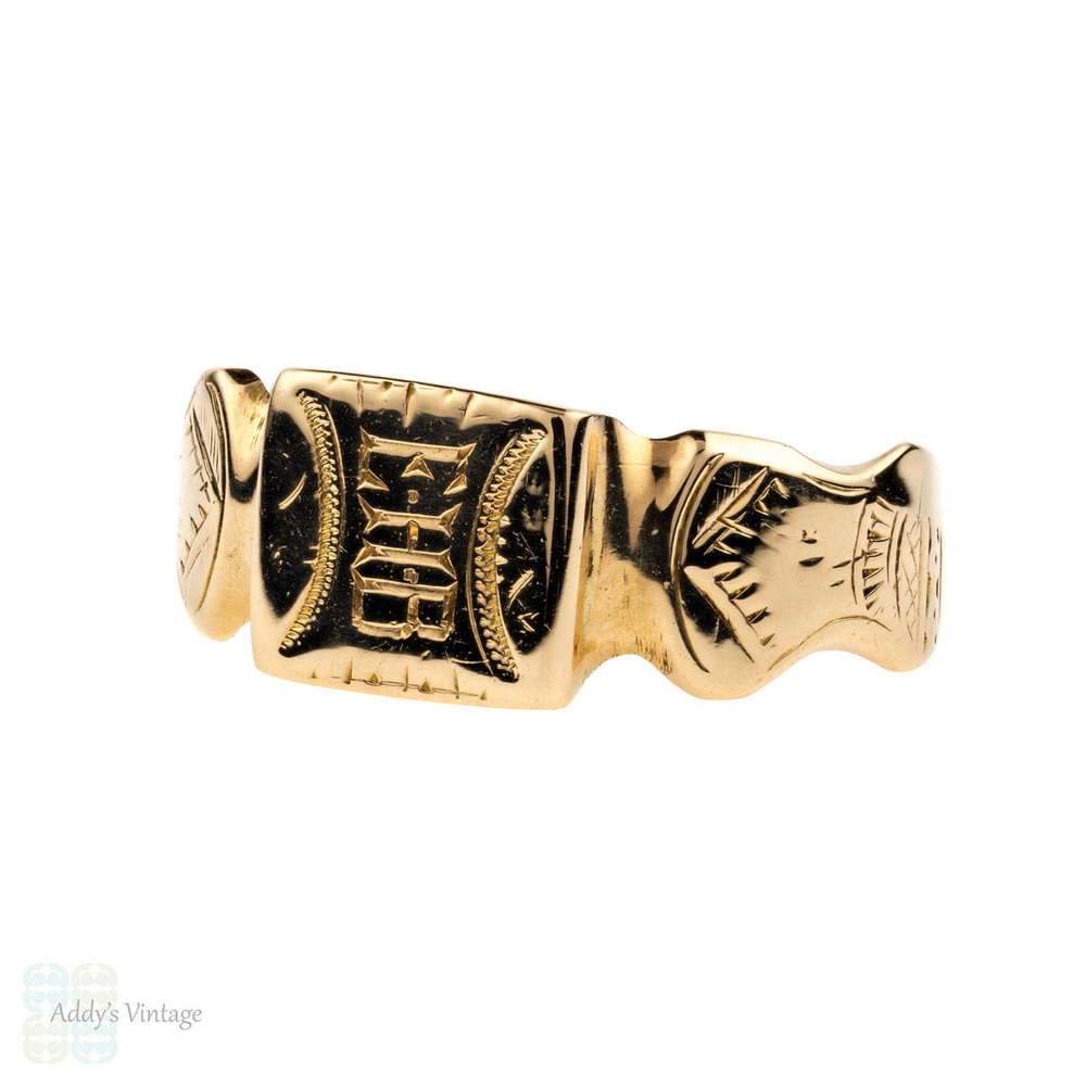 Antique 18ct Gold Signet Ring, Square Engraved Ring with Monogram EHB. Mens or Womens, Circa 1900.