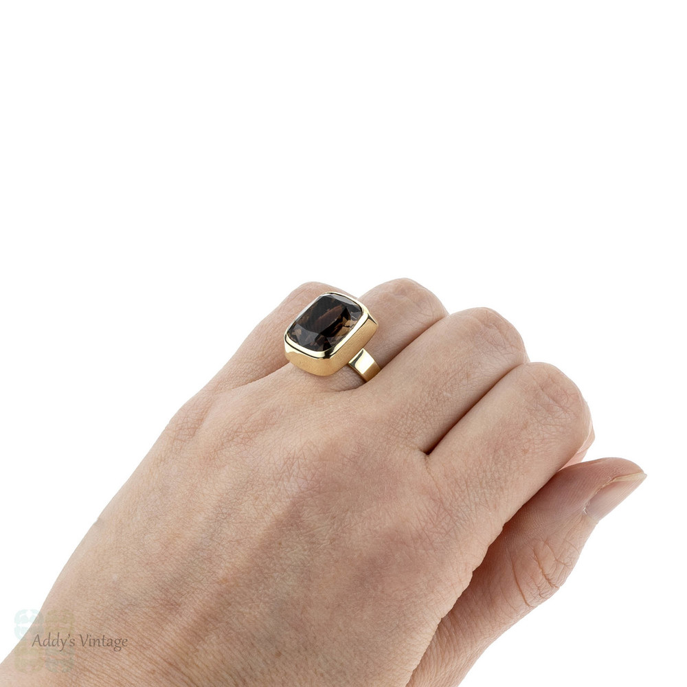 Mid Century Smoky Quartz Ring, Large Cushion Cut Single Stone Brown Quartz Bezel Set in 14k Yellow Gold.