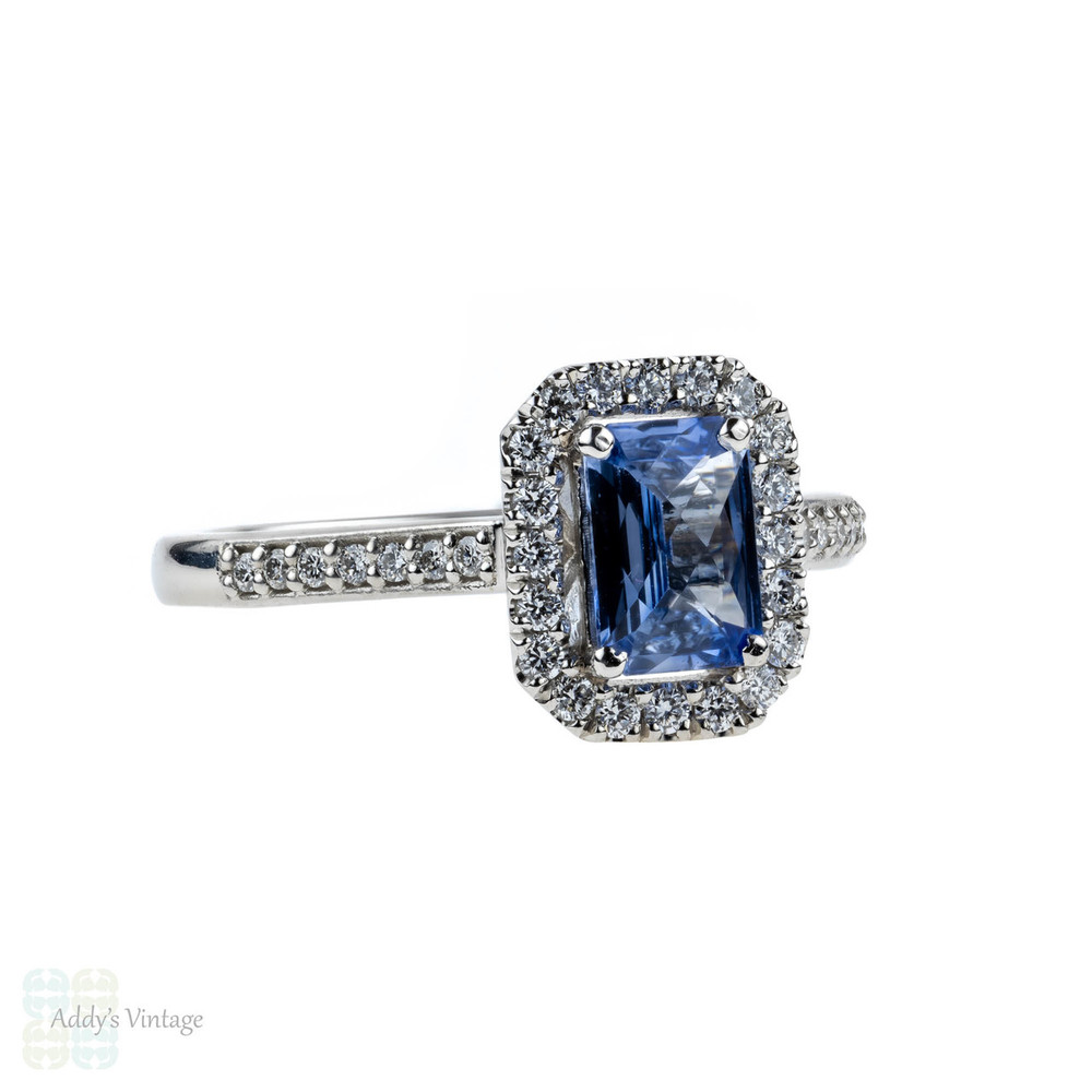 Sapphire & Diamond Engagement Ring in Platinum, Cornflower Blue Sapphire with Diamond Halo.