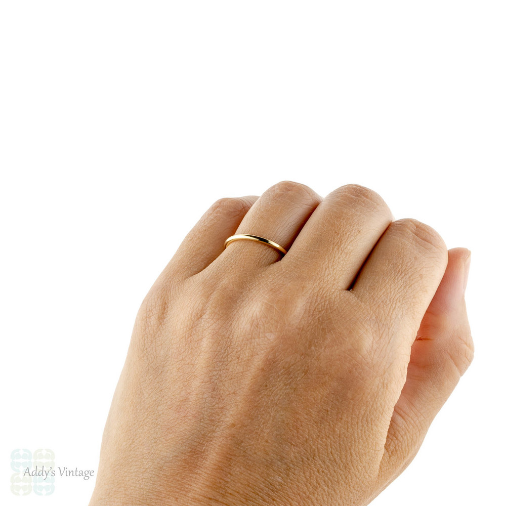 Handmade 18ct Yellow Gold Wedding Band. Recycled 18k 1.5mm Halo Ring Sizes G to P.