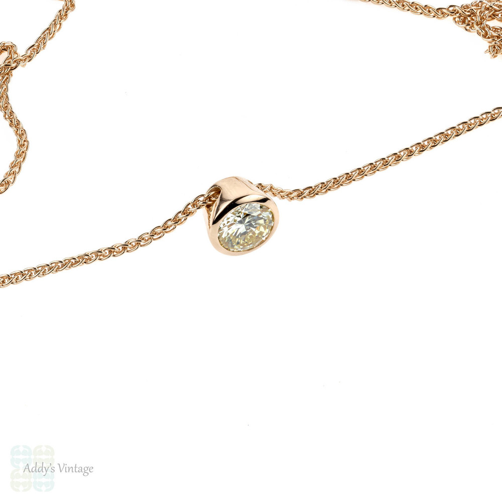 18k Rose Gold Bezel Set Diamond Pendant, 0.78 ct 18ct Gold Slider Necklace.