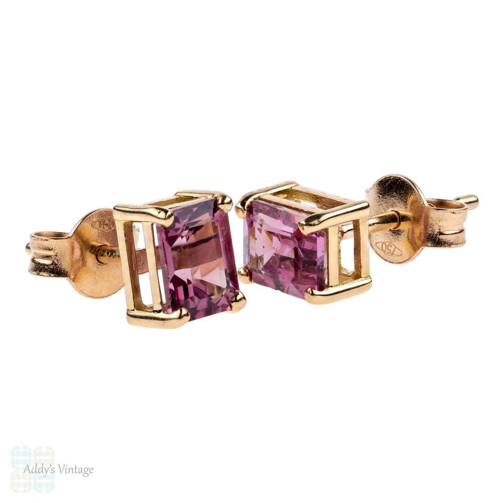 Pink Spinel 18ct Rose Gold Earrings, Emerald Cut 1.78 ctw Bubblegum Pink Spinel Stud Earrings.
