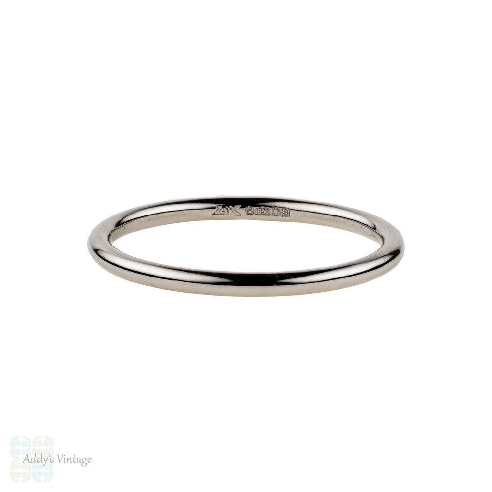 Handmade Platinum Wedding Band. Simple 1.5mm Halo Ring Sizes G to P.