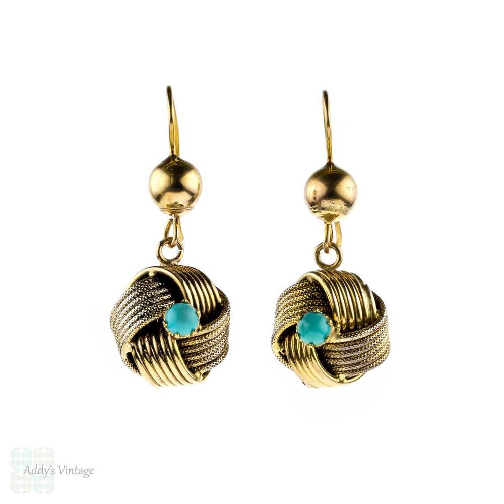 Victorian Love Knot Earrings, 1880s Turquoise Paste Antique 9 Carat Gold Lovers Knot Dangle Earrings.