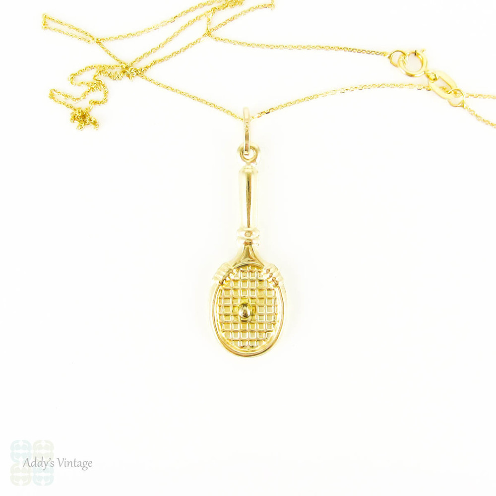 Tennis Racket Charm, Vintage 9ct Pendant on 9k Yellow Gold Chain. Game, Set, Match, Circa 1980s.