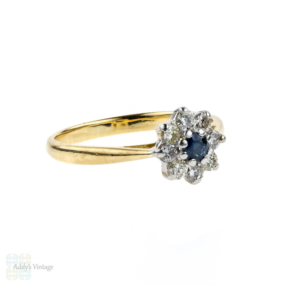 Diamond & Sapphire Cluster Ring, Vintage Floral Shape Engagement Ring. Circa 1940s, 18ct.