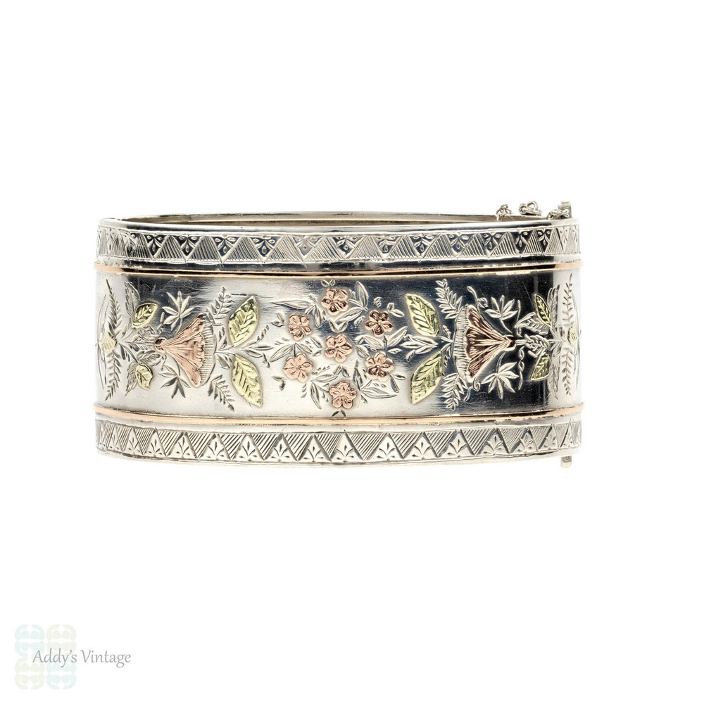 Victorian Wide Sterling Silver Floral Bracelet, Morning Glories 9ct Floral Design. Circa 1880s.