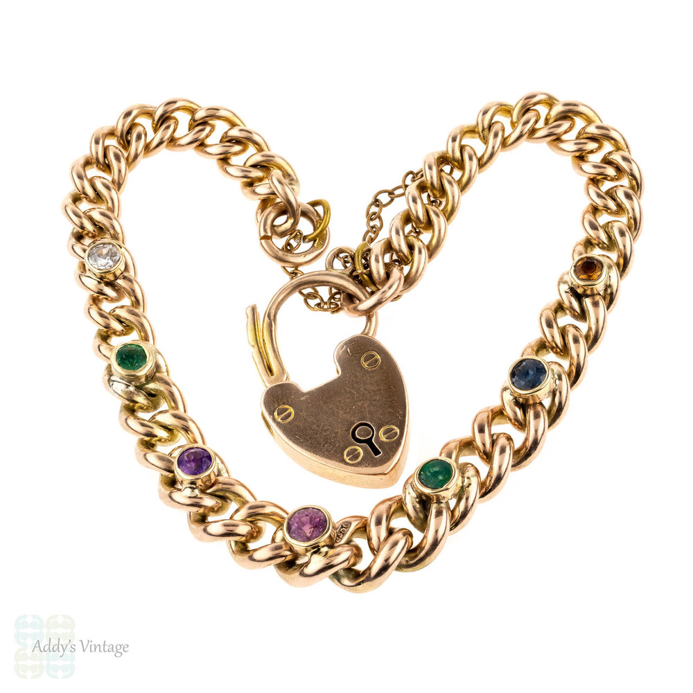 Antique 9ct Gold DEAREST Bracelet, Victorian 9k Curb Link with Heart Padlock Clasp.