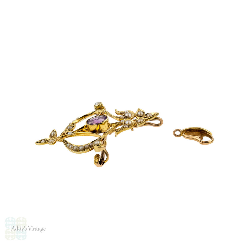 Edwardian Amethyst & Pearl 15k Pendant. Antique Floral 15ct Gold Convertible Brooch.