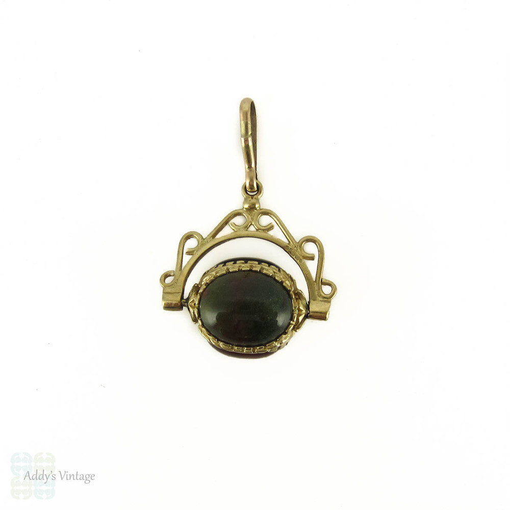 Vintage 9ct Spinner Charm, Multi Coloured Agate & Yellow Gold Pendant.