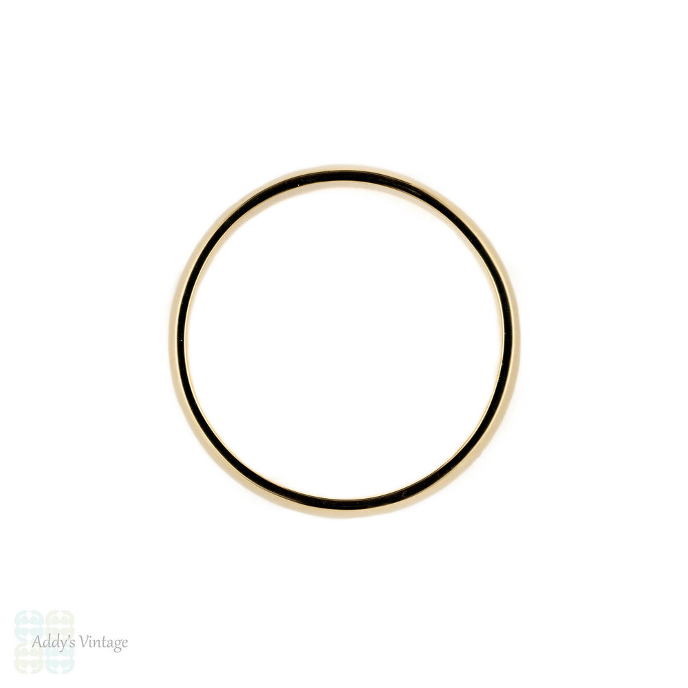 Handmade 9ct Men's Wedding Ring, 5 mm Wide D Profile 9k Yellow Gold Band.