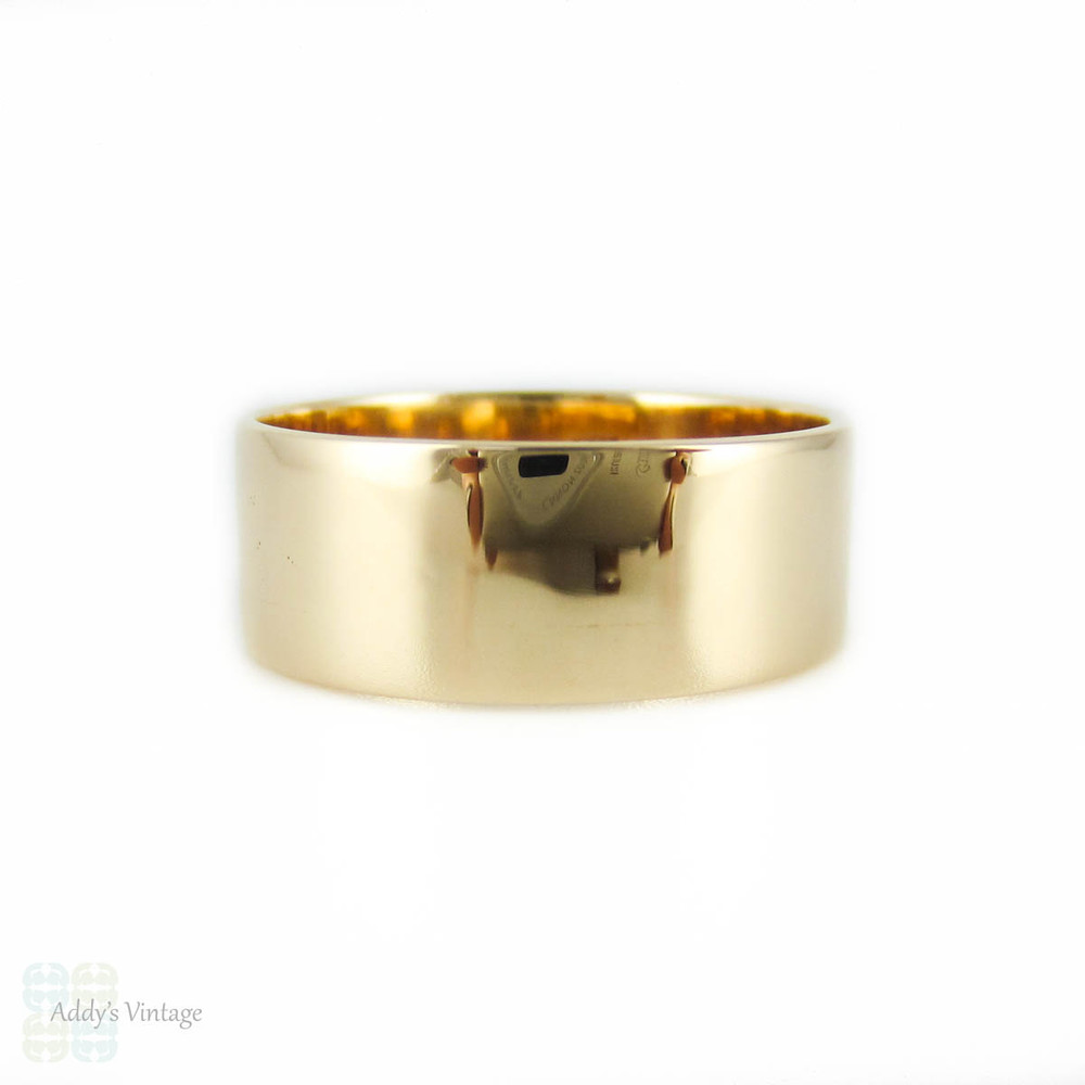 Antique Men's 15ct Wedding Ring, Victorian Wide Flat Profile Band. Size U / 10.