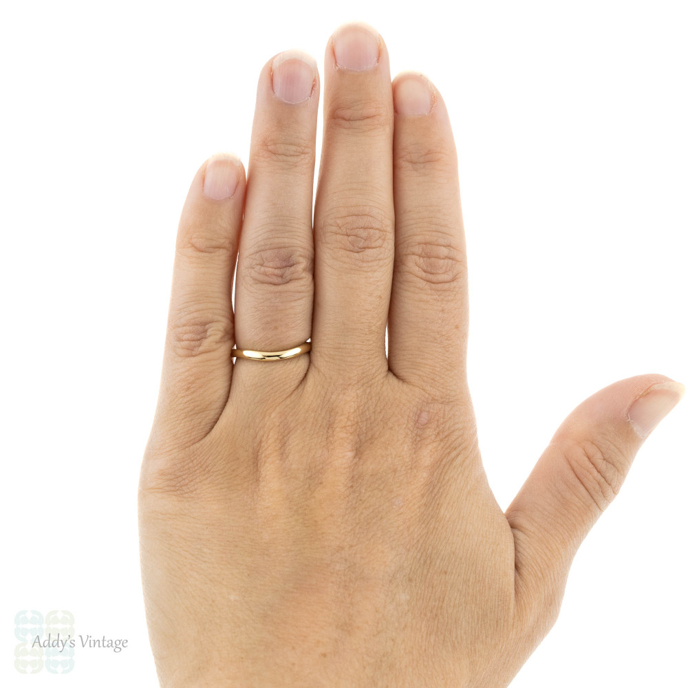 Handmade Curved 18ct Gold Wedding Ring, Recycled 18k Rose, Yellow or White Gold 2mm Band.